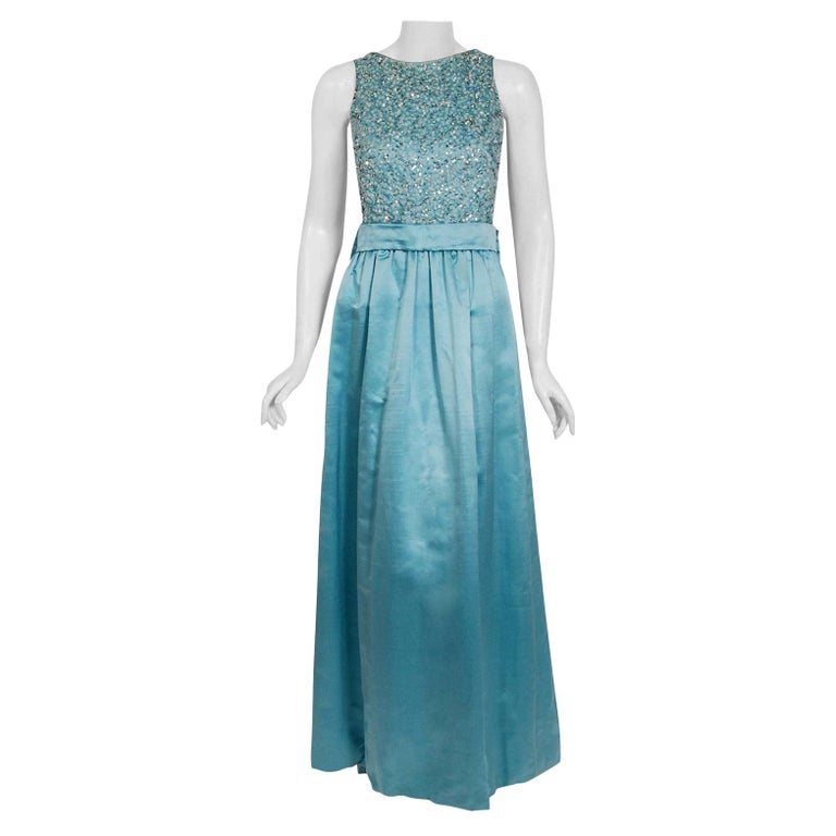 Vintage 1961 Charles Cooper Couture Aqua-Blue Beaded Satin Backless Gown & Coat For Sale