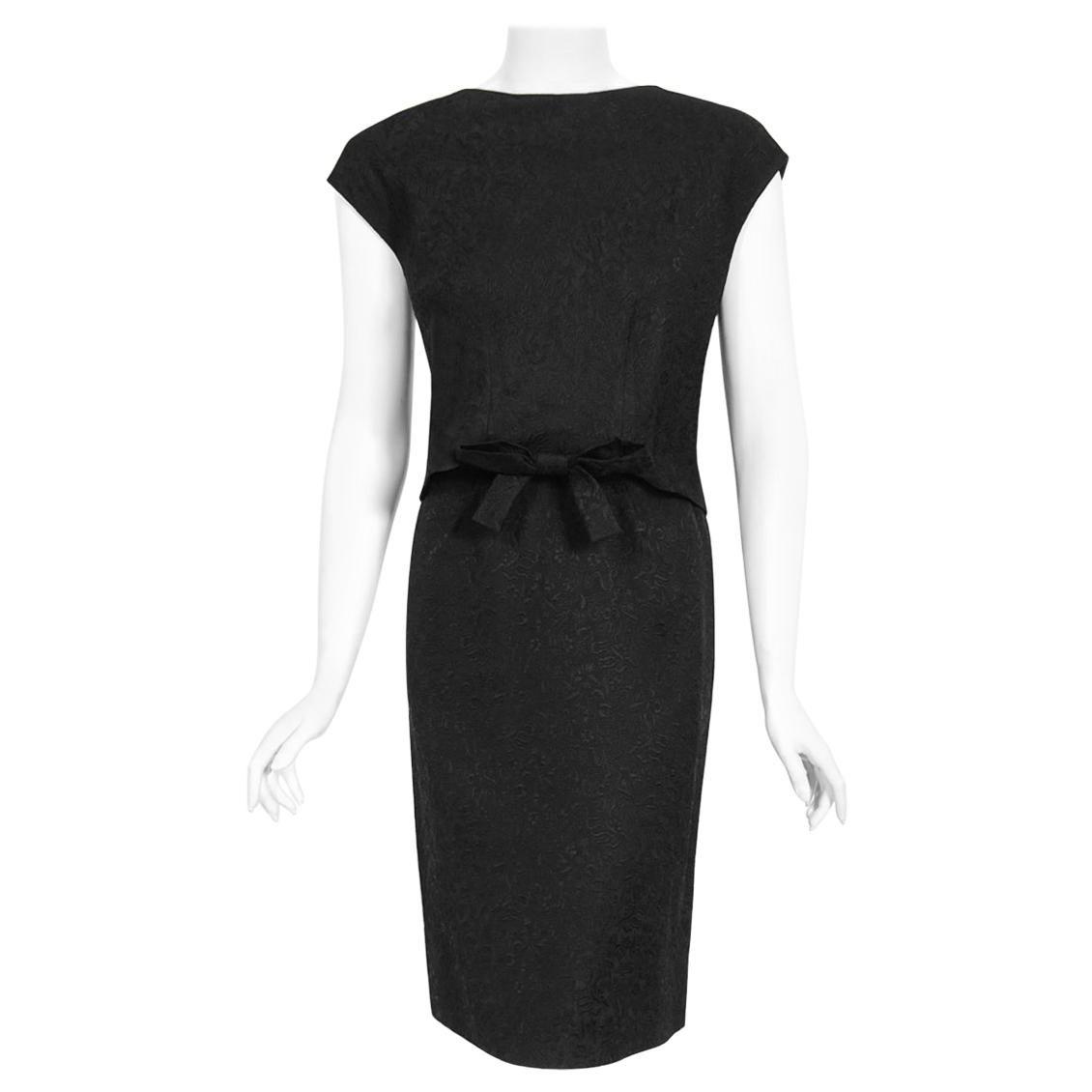 Vintage 1961 Eisa Balenciaga Haute Couture Black Silk Sculpted Bow Cut-Out Dress