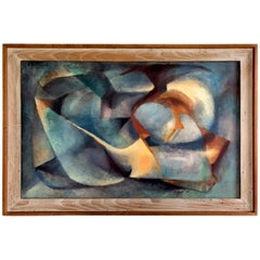 Vintage 1961 Oil on Board Abstract Modernist Painting by Falk