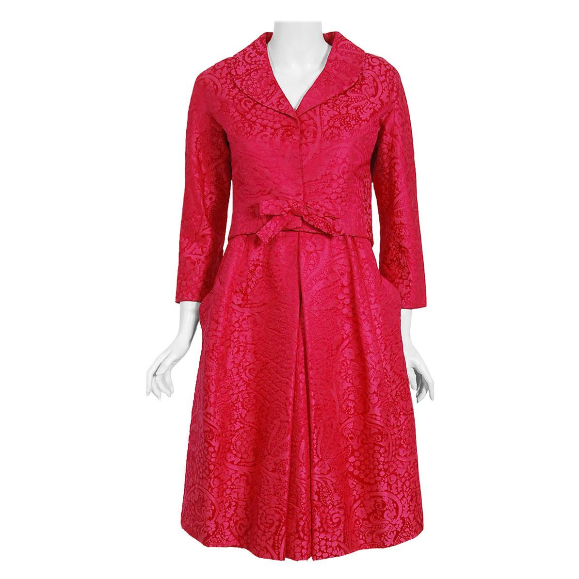 Vintage 1962 Christian Dior Haute Couture Pink Textured Silk Dress & Bow Jacket