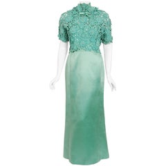 Vintage 1962 Nina Ricci Couture Seafoam Blue Green Beaded Lace Satin Fitted Gown