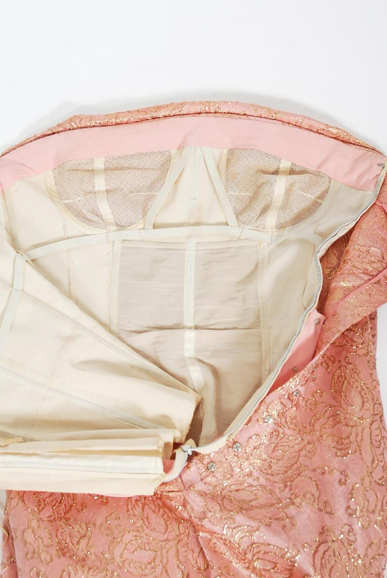 Vintage 1964 Balenciaga Haute Couture Metallic Pink Beaded Silk Strapless Dress For Sale 5