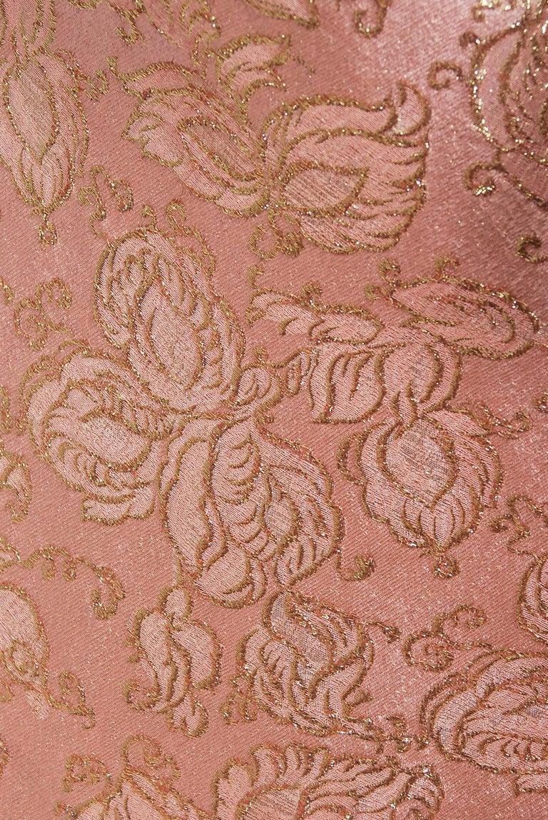 Beige Vintage 1964 Balenciaga Haute Couture Metallic Pink Beaded Silk Strapless Dress For Sale