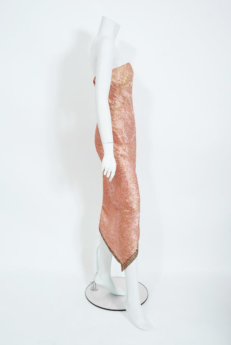 Vintage 1964 Balenciaga Haute Couture Metallic Pink Beaded Silk Strapless Dress In Good Condition For Sale In Beverly Hills, CA