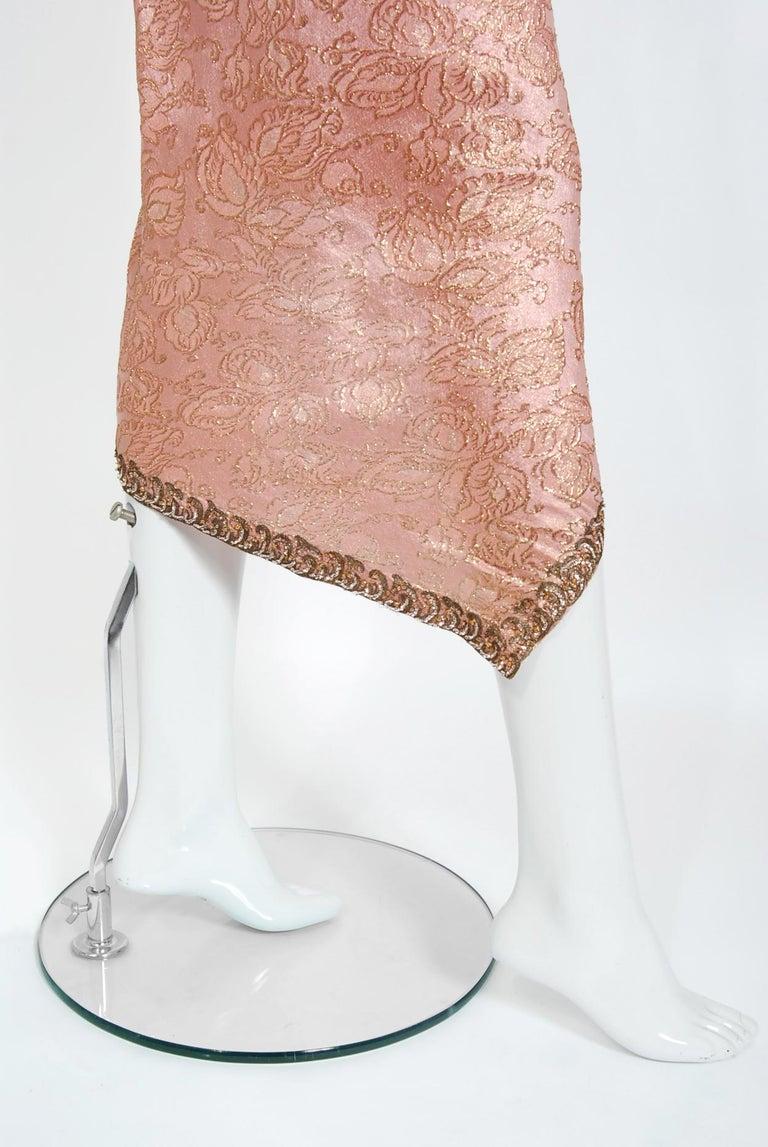Women's Vintage 1964 Balenciaga Haute Couture Metallic Pink Beaded Silk Strapless Dress For Sale
