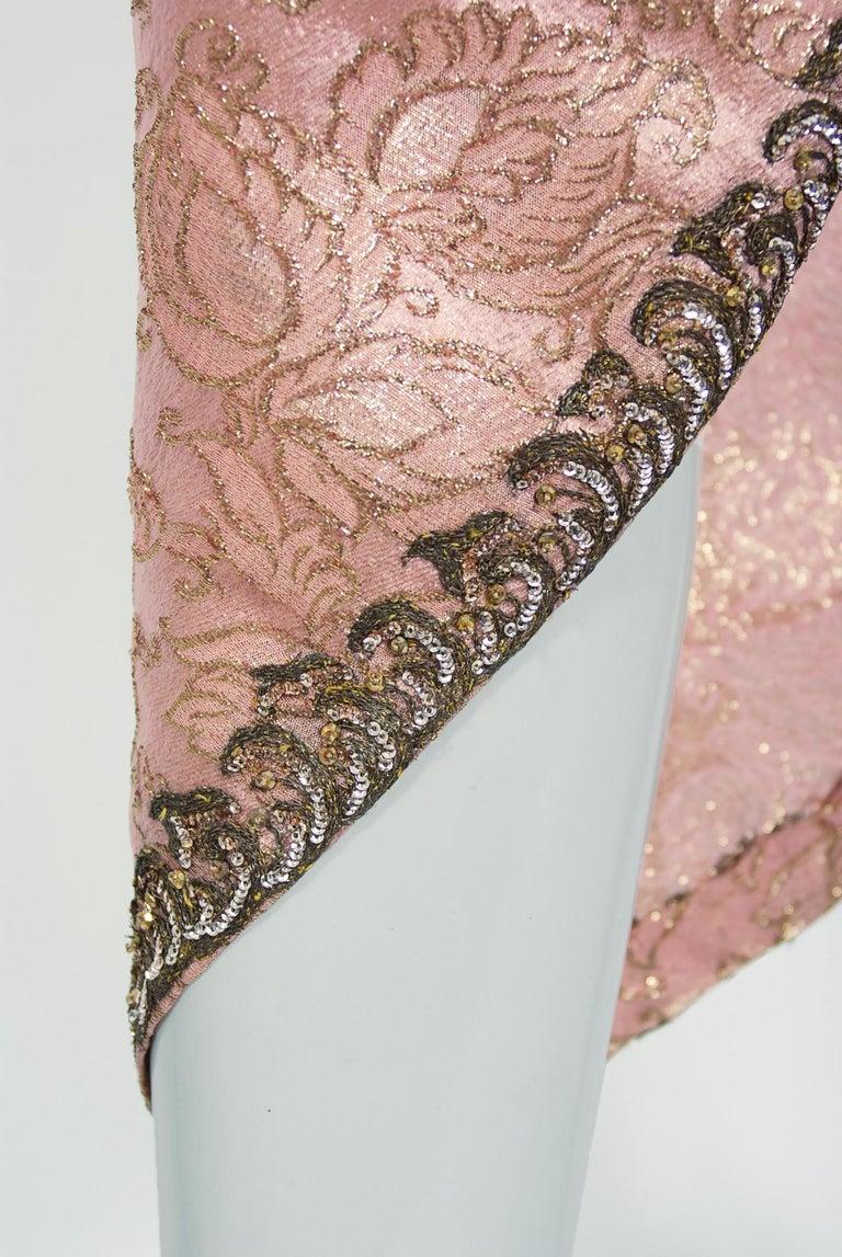 Vintage 1964 Balenciaga Haute Couture Metallic Pink Beaded Silk Strapless Dress For Sale 1
