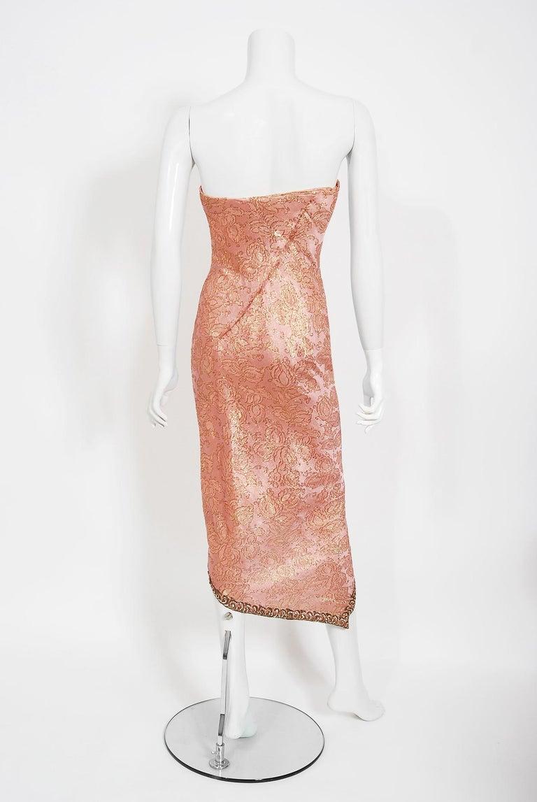 Vintage 1964 Balenciaga Haute Couture Metallic Pink Beaded Silk Strapless Dress For Sale 2