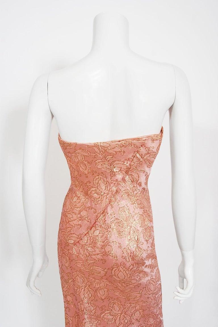 Vintage 1964 Balenciaga Haute Couture Metallic Pink Beaded Silk Strapless Dress For Sale 3
