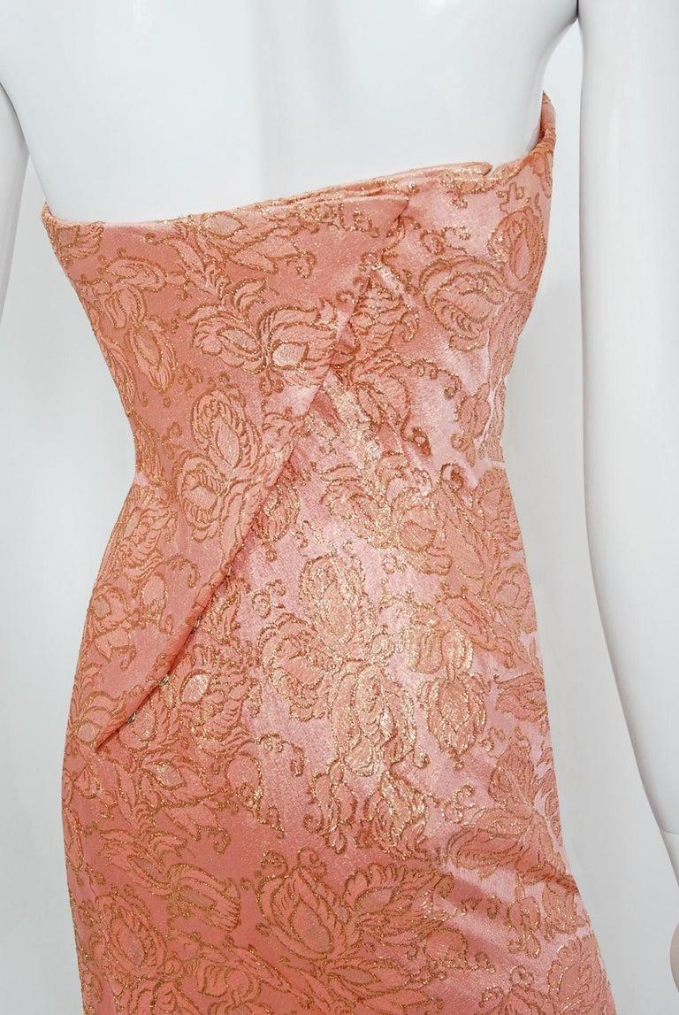 Vintage 1964 Balenciaga Haute Couture Metallic Pink Beaded Silk Strapless Dress For Sale 4