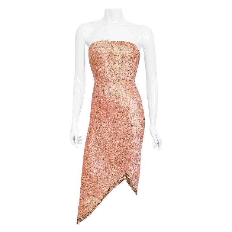 Vintage 1964 Balenciaga Haute Couture Metallic Pink Beaded Silk Strapless Dress For Sale