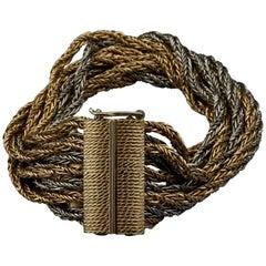 Vintage 1964 CHRISTIAN DIOR 9 Strand Two Tone Chain Bracelet