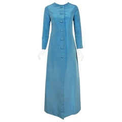 Vintage 1964 Christian Dior Haute-Couture Blue Silk Faille Full Length Jacket