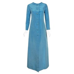Vintage 1964 Christian Dior Haute Couture Blue Silk Faille Full Length Jacket