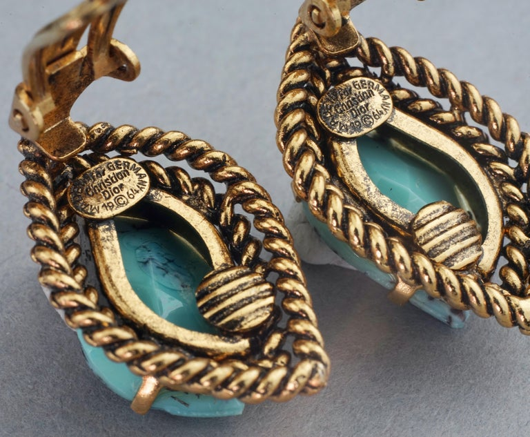 Vintage 1964 CHRISTIAN DIOR Turquoise Cabochon Braided Gilt Earrings For Sale 6