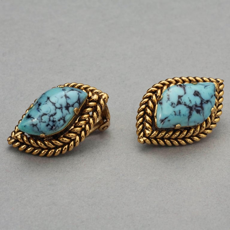 Women's Vintage 1964 CHRISTIAN DIOR Turquoise Cabochon Braided Gilt Earrings For Sale