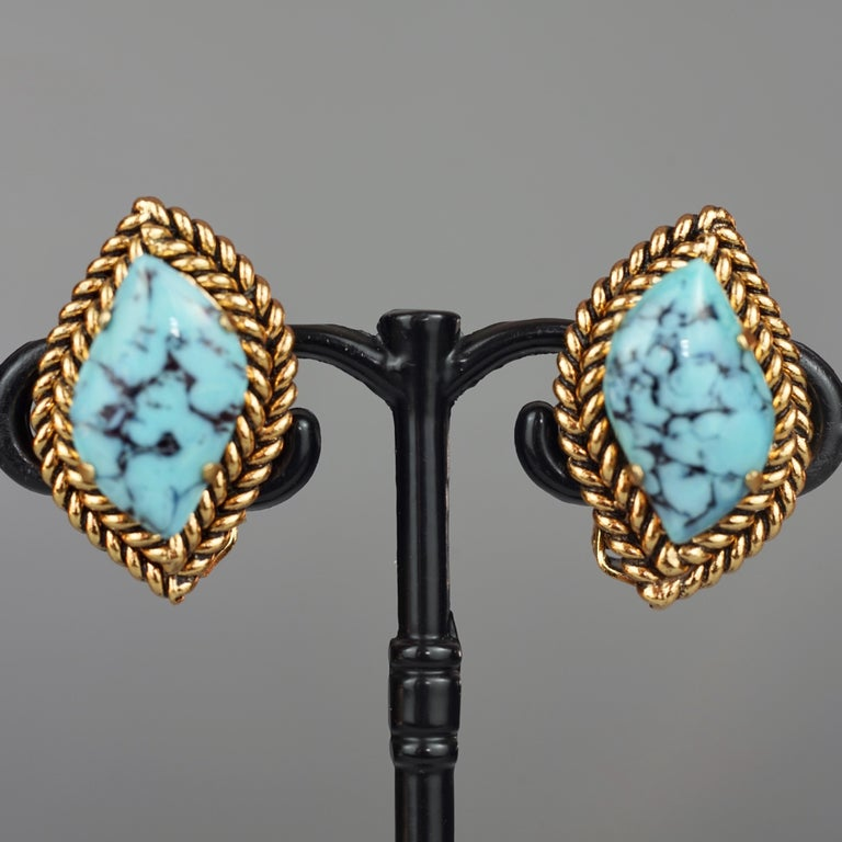 Vintage 1964 CHRISTIAN DIOR Turquoise Cabochon Braided Gilt Earrings For Sale 1