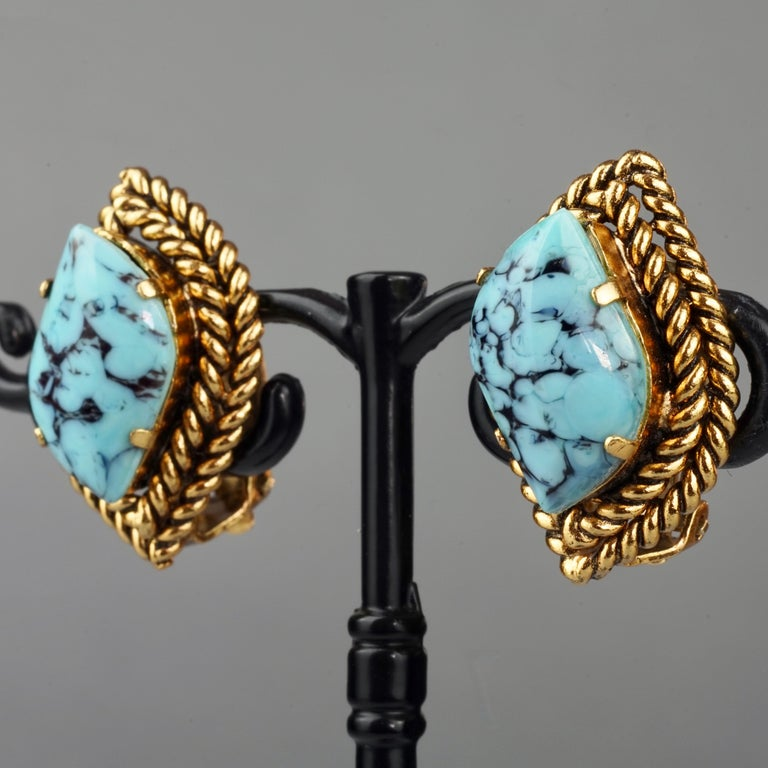 Vintage 1964 CHRISTIAN DIOR Turquoise Cabochon Braided Gilt Earrings For Sale 2