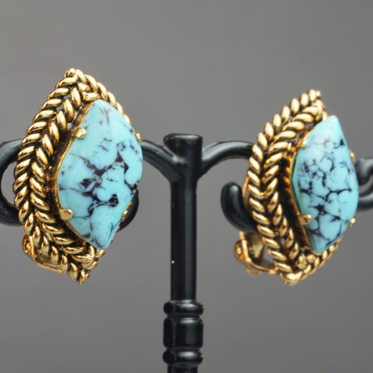 Vintage 1964 CHRISTIAN DIOR Turquoise Cabochon Braided Gilt Earrings For Sale 3