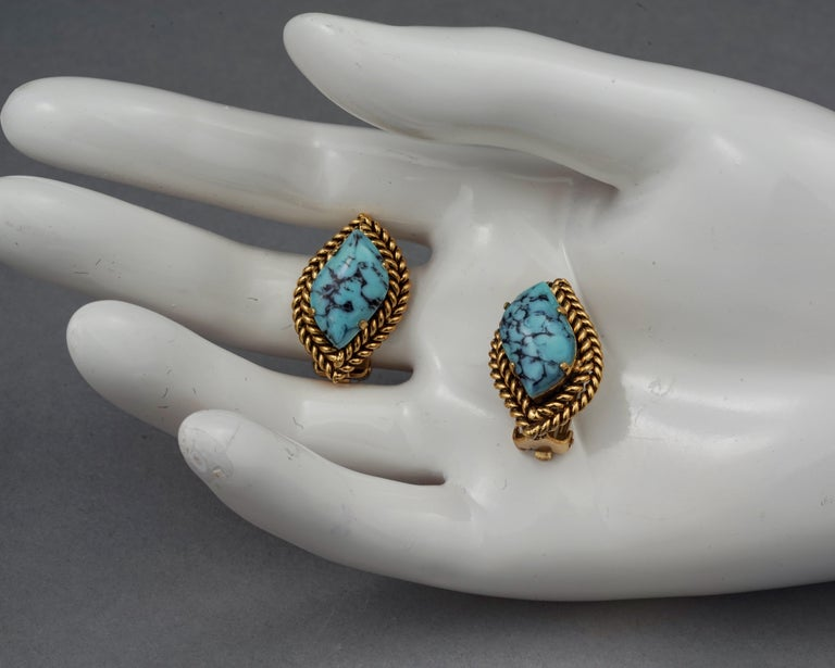 Vintage 1964 CHRISTIAN DIOR Turquoise Cabochon Braided Gilt Earrings For Sale 4