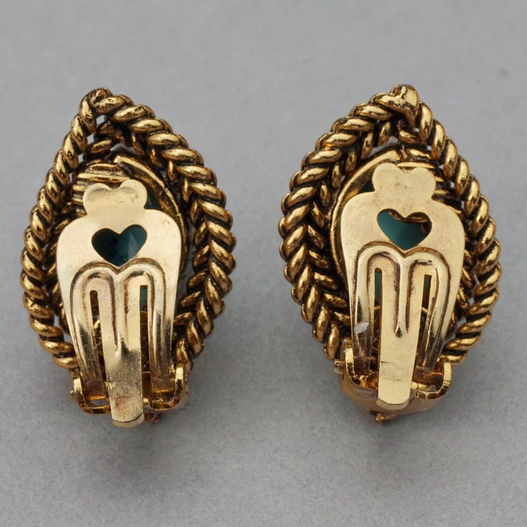 Vintage 1964 CHRISTIAN DIOR Turquoise Cabochon Braided Gilt Earrings For Sale 5