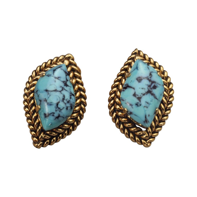Vintage 1964 CHRISTIAN DIOR Turquoise Cabochon Braided Gilt Earrings For Sale