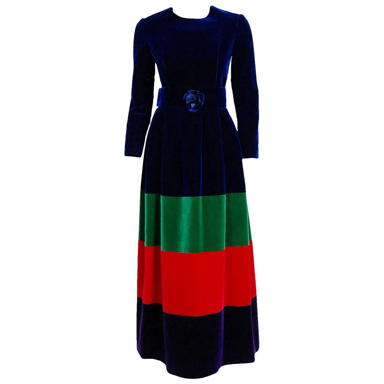 Vintage 1964 Nina Ricci Couture Rainbow Block Color Silk-Velvet Maxi Dress