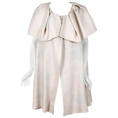 Vintage 1965 Arnold Scaasi Couture Creme Silk Portrait-Collar Cape Jacket
