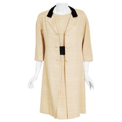 Vintage 1965 Balenciaga Haute Couture Beige Silk Sash-Bow Dress and Jacket Set