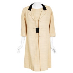 Vintage 1965 Balenciaga Haute Couture Beige Silk Sash-Bow Dress and Jacket Set