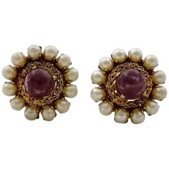 Vintage 1965 CHRISTIAN DIOR Amethyst Cabochon Pearl Earrings