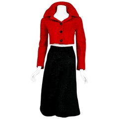 Vintage 1965 Christian Dior Couture Red Black Broadtail Jacket and Gaucho Pants