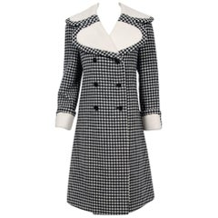 Vintage 1965 Geoffrey Beene Black Creme Checkered Wool Double-Breasted Mod Coat