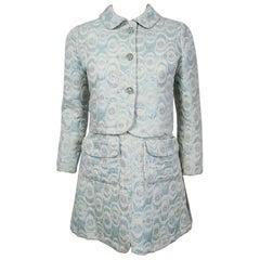 Vintage 1965 Jean Patou Couture Light-Blue Metallic Brocade Mini Dress & Jacket