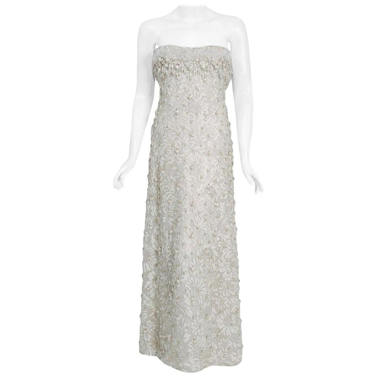 Vintage 1965 Pierre Balmain Couture Ivory Beaded Lace Strapless Bridal Gown For Sale