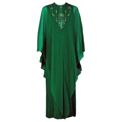Vintage 1965 Pierre Cardin Haute Couture Beaded Green Silk Chiffon Caftan Gown