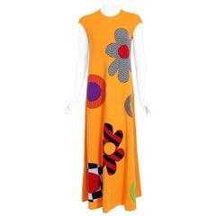 Vintage 1965 Rudi Gernreich 'Flower Power' Applique Orange Wool Mod Maxi Dress