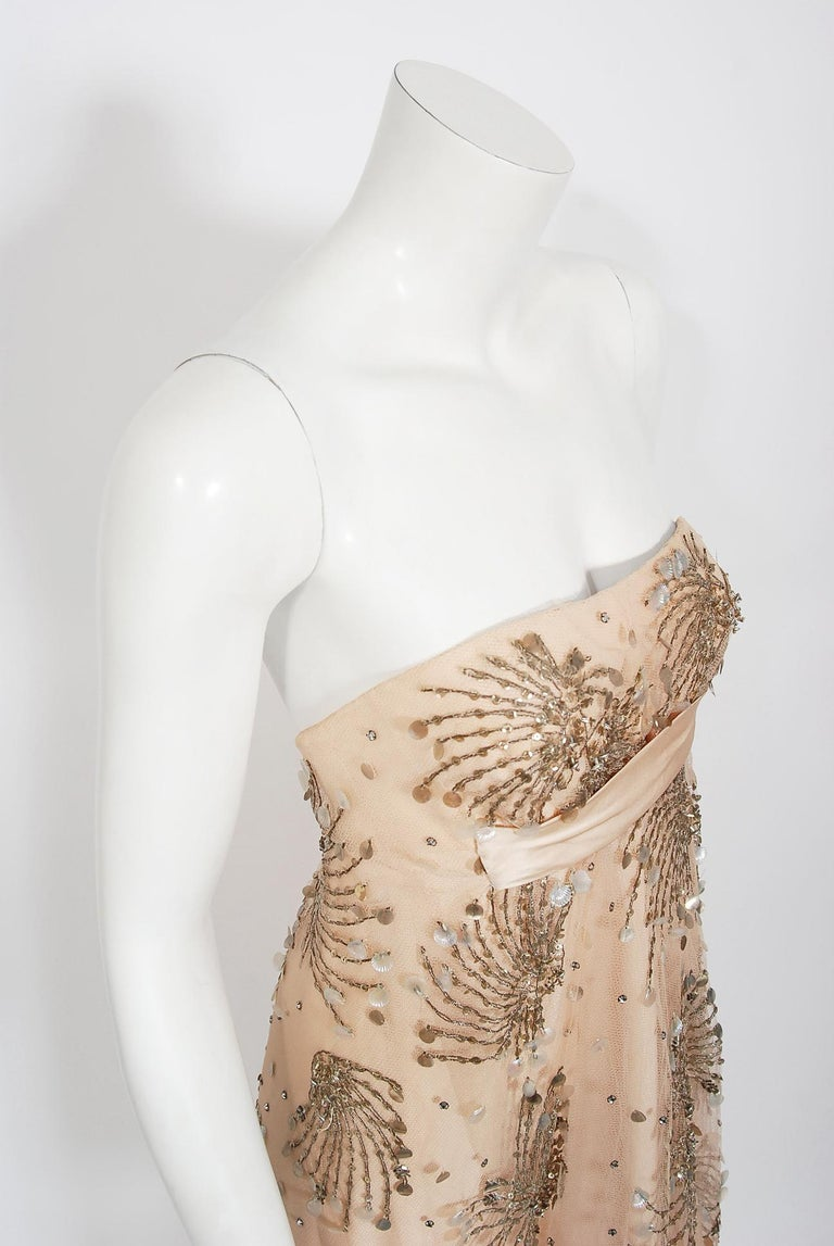 Vintage 1966 Arnold Scaasi Couture For Mitzi Gaynor Beaded Strapless Gown & Cape For Sale 6