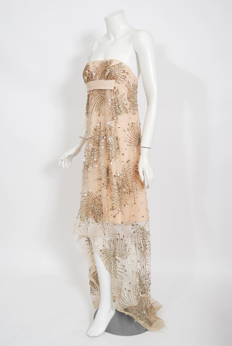 Vintage 1966 Arnold Scaasi Couture For Mitzi Gaynor Beaded Strapless Gown & Cape For Sale 7