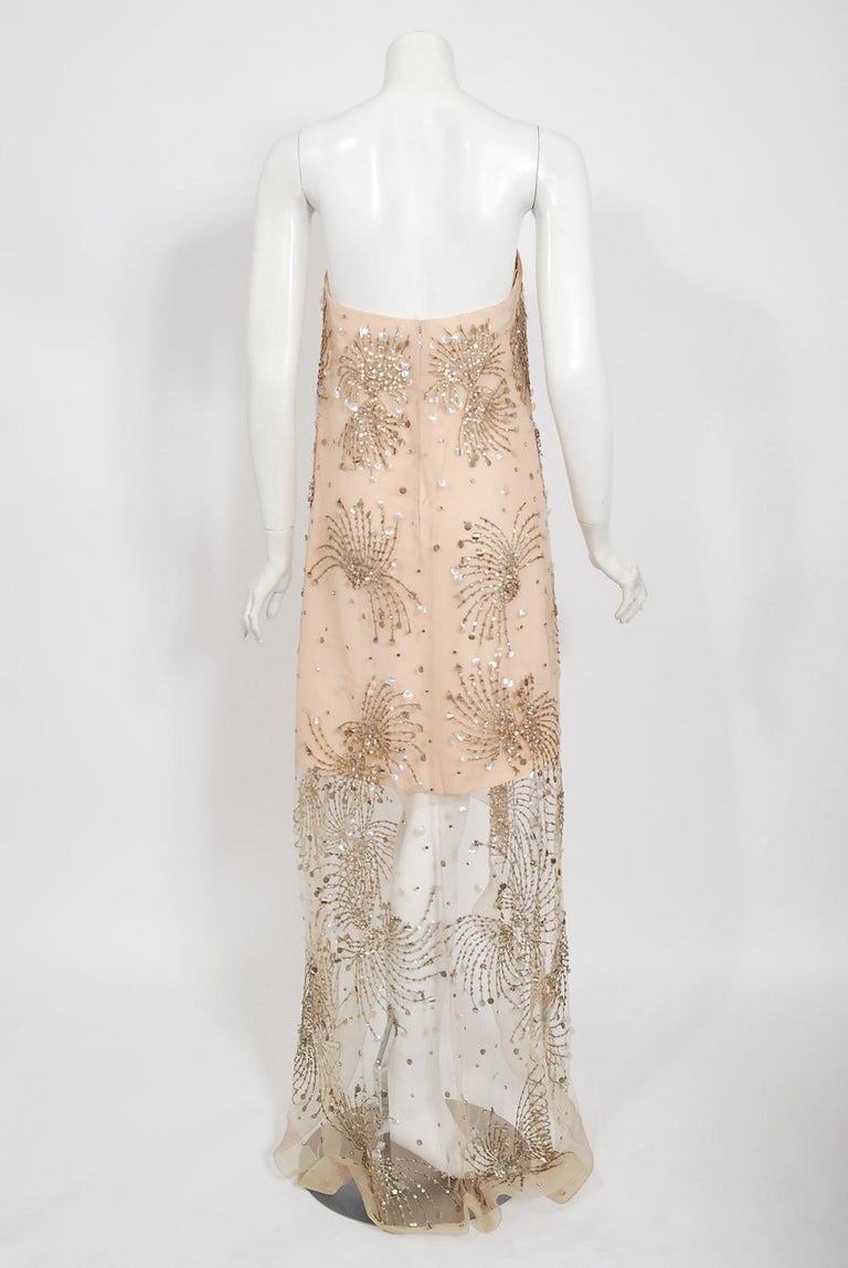 Vintage 1966 Arnold Scaasi Couture For Mitzi Gaynor Beaded Strapless Gown & Cape For Sale 8