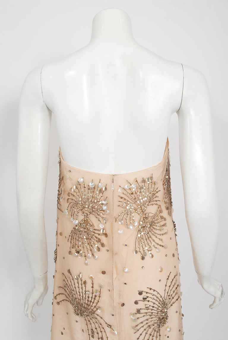 Vintage 1966 Arnold Scaasi Couture For Mitzi Gaynor Beaded Strapless Gown & Cape For Sale 9