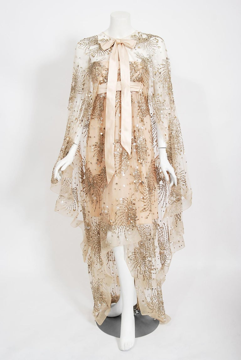 Vintage 1966 Arnold Scaasi Couture For Mitzi Gaynor Beaded Strapless Gown & Cape For Sale 10