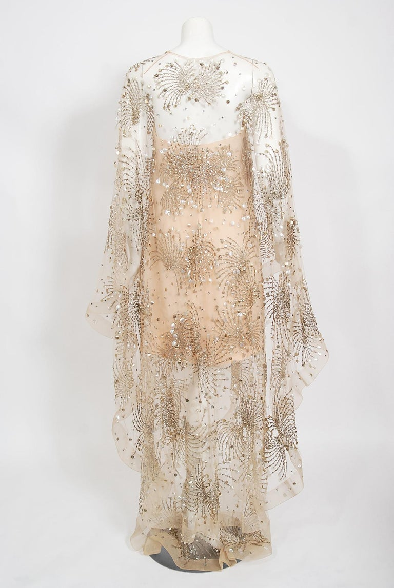 Vintage 1966 Arnold Scaasi Couture For Mitzi Gaynor Beaded Strapless Gown & Cape For Sale 12