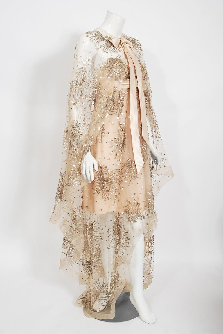 Vintage 1966 Arnold Scaasi Couture For Mitzi Gaynor Beaded Strapless Gown & Cape In Good Condition For Sale In Beverly Hills, CA