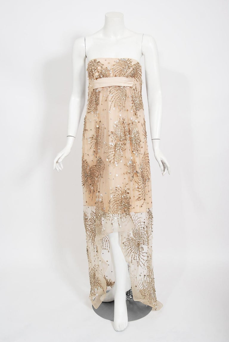 Vintage 1966 Arnold Scaasi Couture For Mitzi Gaynor Beaded Strapless Gown & Cape For Sale 1
