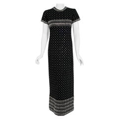 Vintage 1966 Geoffrey Beene Documented Rhinestone Studded Black Wool Maxi Gown