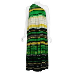 Vintage 1966 Geoffrey Beene Striped Green Yellow Silk Jersey One-Shoulder Dress