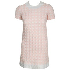 Vintage 1966 Pierre Cardin Pink & White Textured Cotton Space-Age Mod Mini Dress