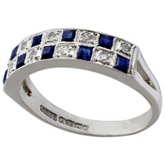 Vintage 1966 Sapphire and Diamond White Gold Cocktail Ring