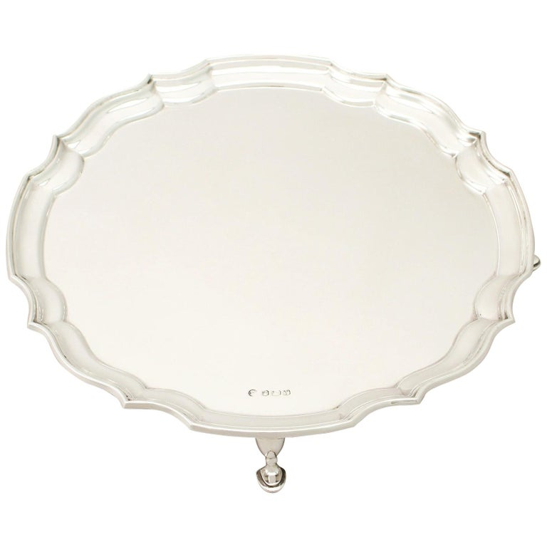 Vintage 1966 Sterling Silver Salver by Francis Howard For Sale