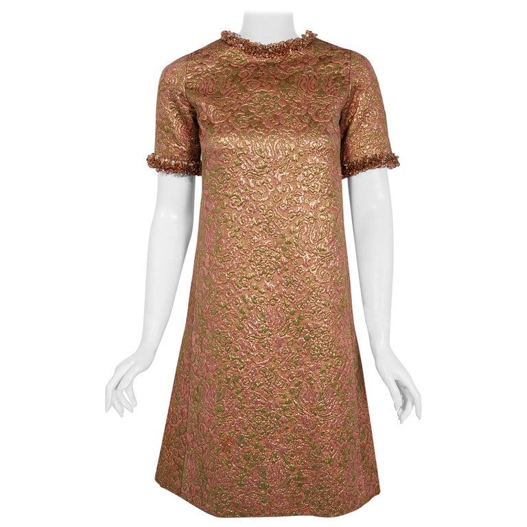 Vintage 1966 Yves Saint Laurent Beaded Metallic Pink Gold Brocade Cocktail Dress For Sale